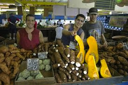 men in farmers market